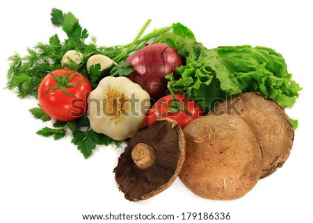 Organic Ingredients (Tomato, Lettuce, Mushrooms Portobello and Red Onion) and seasonings (Plain Parsley, Dill, Garlic) for cooking Vegetarian, Grilled Portobello Mushroom Burger over white background  - stock photo