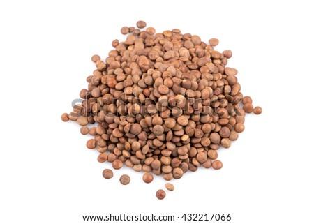 Organic lentils Isolated on a white background - close up shot - stock photo
