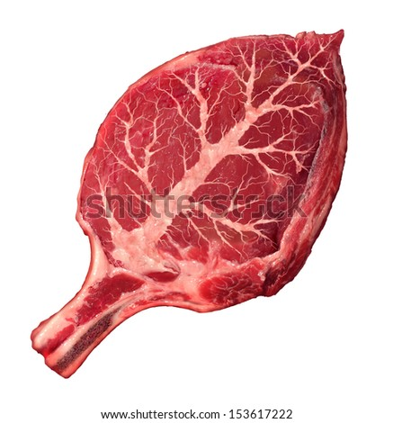Organic meat and natural food as a raw steak shaped as a green leaf symbol for  agriculture and grass fed antibiotics and hormone free organically grown healthy protein  from a certified beef farm. - stock photo