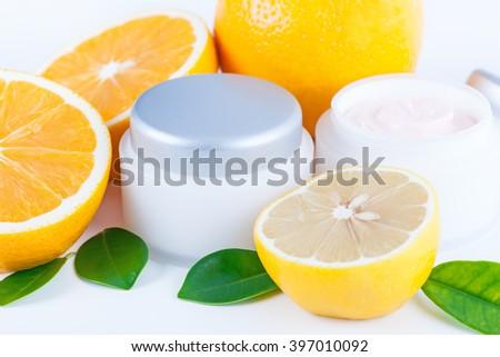 Organic nutrition facial cream with vitamin C, skincare organic concept - stock photo