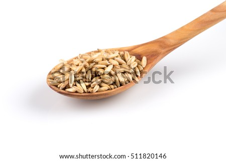 organic oat grains isolated on white background in wooden spoon