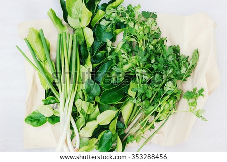 Organic parsley, green onion and lemongrass wrapped in white paper. Vegetarian food. Italian herbal mix - stock photo