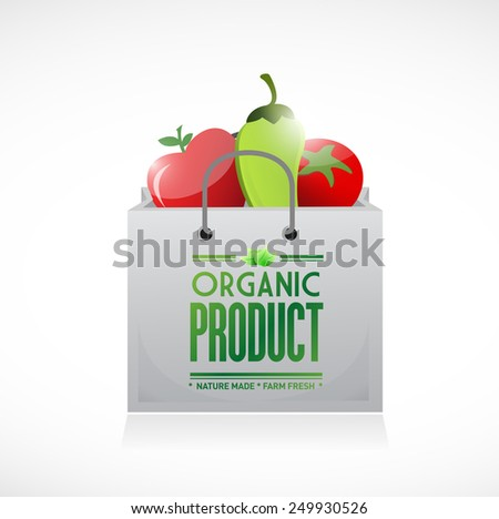organic product shopping bag illustration design over a white background - stock photo
