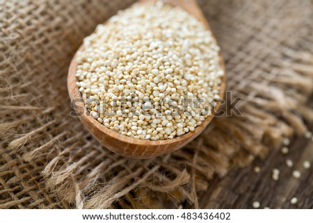 organic quinoa on old background