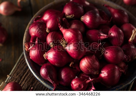 Organic Red Pearl Onions in a Bowl