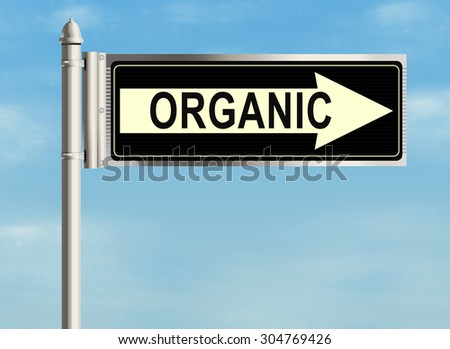 Organic. Road sign on the sky background. Raster illustration.