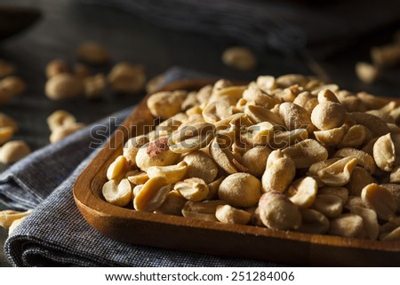 Organic Roasted Salty Peanuts in a Bowl - stock photo