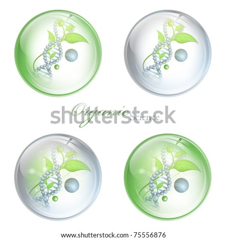 Organic Science glossy balls with DNA and green leaves over white background - stock photo