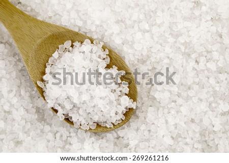 Organic sea salt with wooden spoon - stock photo