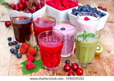 Organic smoothies, fruit yogurt and juices - stock photo
