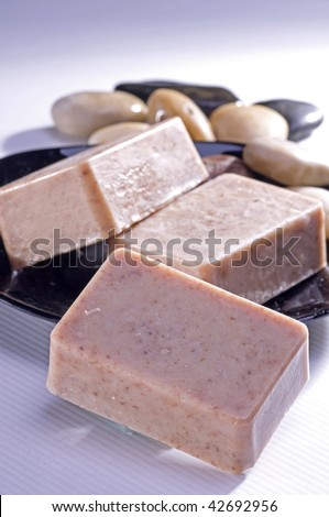 Organic soap keeps skin healthy and young - stock photo