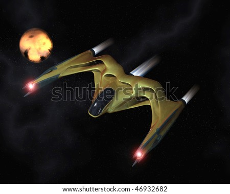 Organic spaceship in action - stock photo