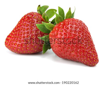 Organic strawberry on a white background - stock photo