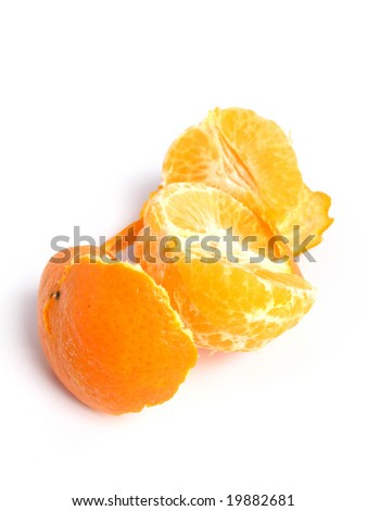 Organic Tangerine peeled and sectioned, on white background
