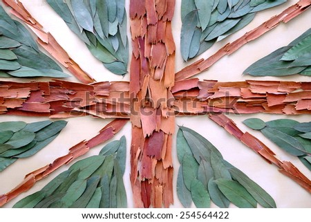 Organic United Kingdom flag made with organic materials such as leaves and red bark - stock photo