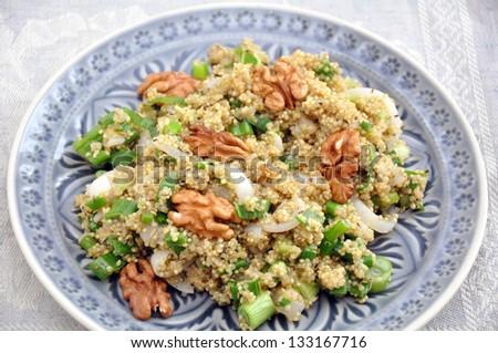 Organic Vegan Quinoa Salad with walnut - stock photo