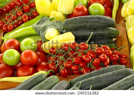 Organic vegetables at farmers market - stock photo