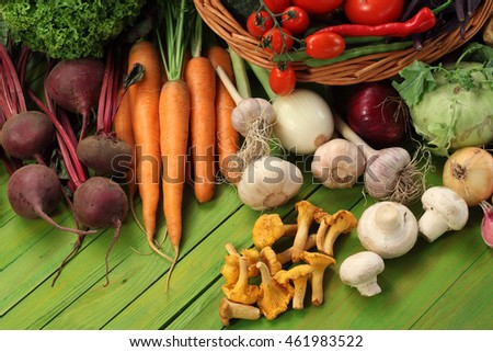 Organic vegetables background / basket