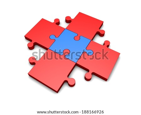 organisation idea with puzzles pieces isolated - stock photo