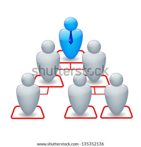 Organization chart with icons of people - stock photo