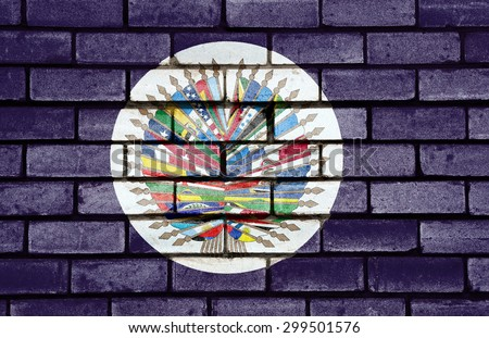 Organization of American State flag painted on old brick wall texture background - stock photo