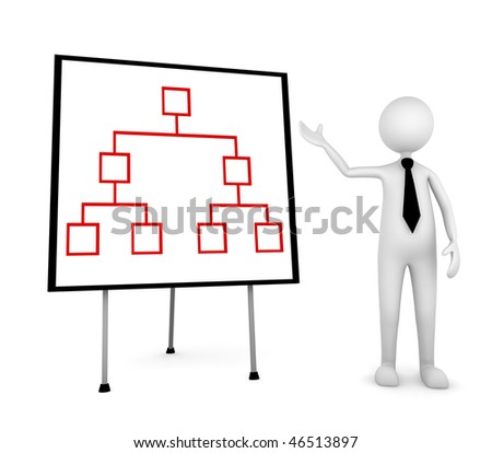 Organization Presentation. Presentation concept, depicting man showing organization structure on a board - stock photo
