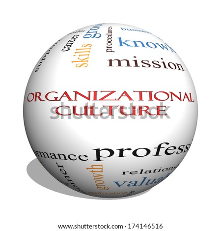 Organizational Culture 3D sphere Word Cloud Concept with great terms such as roles, executive, mergers, mission and more. - stock photo