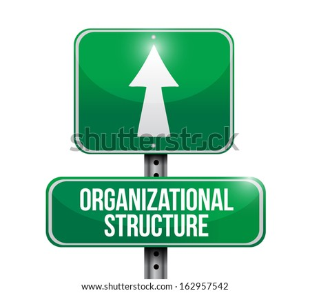 organizational structure road sign illustration design over a white background - stock photo