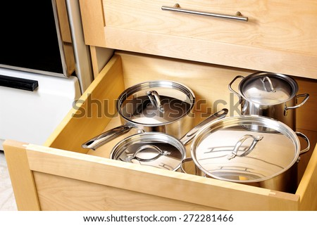 Organized kitchen drawer - stock photo