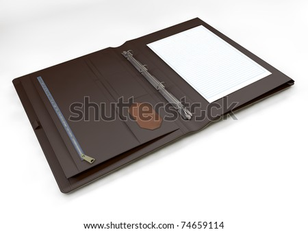 Organizer with blank white lined paper - stock photo