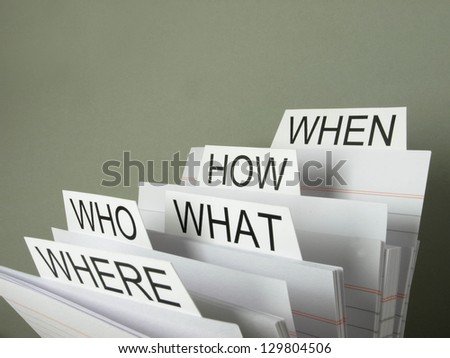 Organizing questions - stock photo