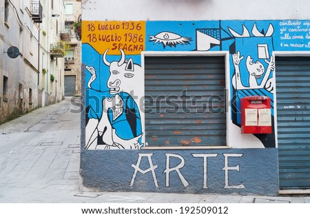 ORGOSOLO, ITALY - APRIL 02: Murals wall paintings about political and historical facts in Orgosolo, Sardinia, Italy on April 02, 2014 - stock photo