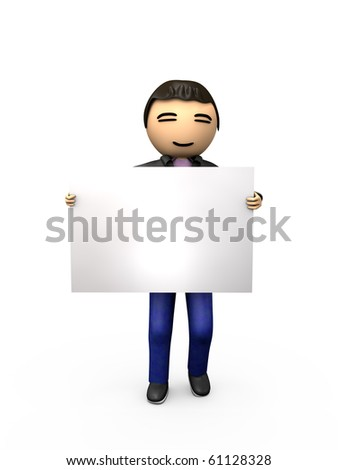 Oriental Asian 3D Guy Holding Blank Sign Shaded Copyspace - stock photo