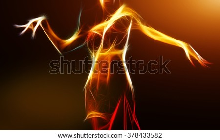 Oriental belly dancer in light fractal, computer generated abstract background