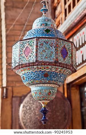Oriental  chandelier, Esfahan, Isfahan, Iran - stock photo