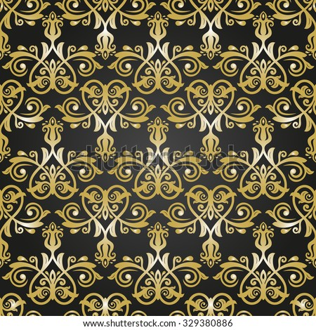 Oriental  classic colored pattern. Seamless abstract background. Black and golden colors - stock photo