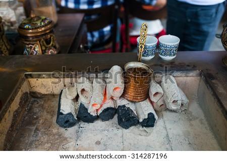 Oriental coffee house in Istanbul, Turkey - stock photo