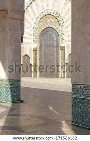 Oriental decorated gate, Hassan II mosque, Morocco - stock photo