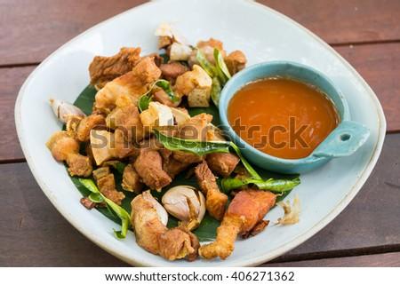 Oriental fried pork belly - stock photo