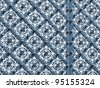 Oriental, geometric, blue and white, decorated wrought iron ornament on entrance door. For oriental maghreb exterior or religious architecture designs. More of this motif & more backgrounds in my port - stock photo