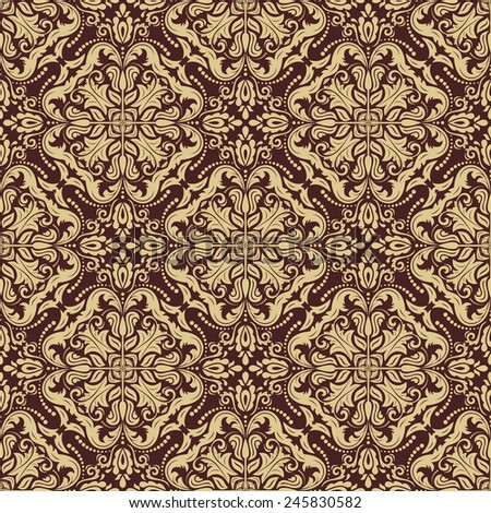Oriental  golden pattern with damask, arabesque and floral elements. Seamless abstract background
