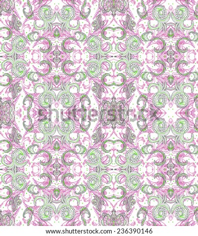 Oriental lacy pattern in pink and grey colors. Repetitive raster pattern. - stock photo