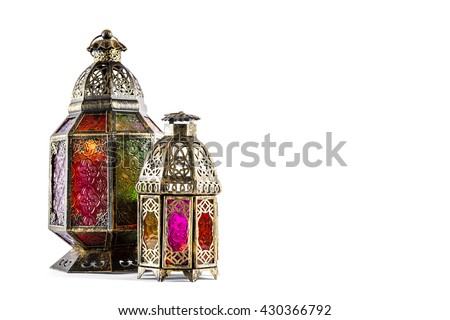 Oriental light lantern on white background. Arabic decoration - stock photo