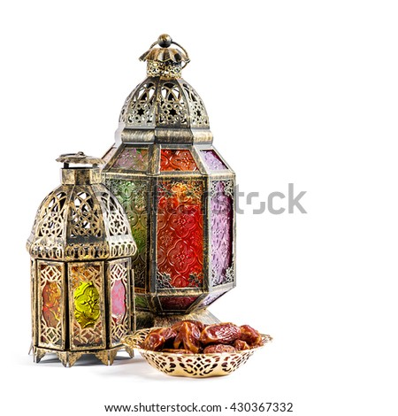 Oriental light lantern on white background. Arabic holidays decoration - stock photo