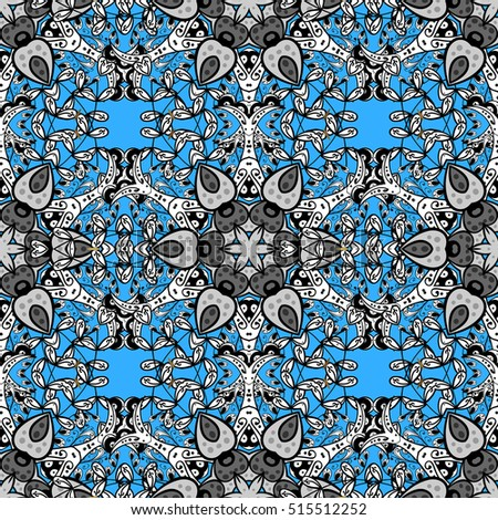 Oriental seamless pattern of white flowers and mandalas. Raster blue background.