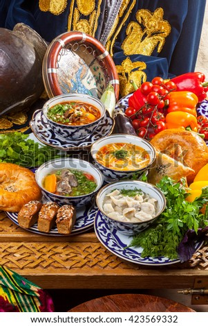 Oriental Soups On The Table With Bread