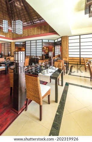 Oriental  style interior of the asian, japanese restaurant. Interior design. Vertical. - stock photo