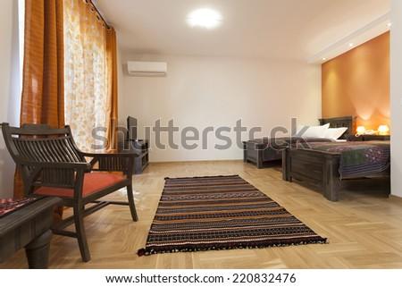 Oriental styled bedroom interior  - stock photo