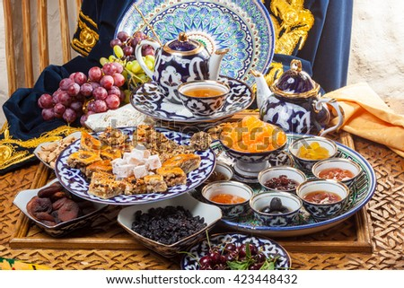 Oriental sweets with tea and fruits