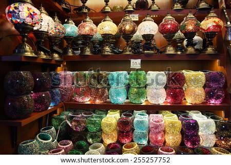 Oriental turkish lanterns at Istanbul egyptean spices bazaar, Turkey - stock photo